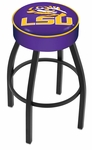 Louisiana State University 25'' Black Wrinkle Finish Swivel Backless Counter Height Stool with 4'' Thick Seat [L8B125LASTUN-FS-HOB]