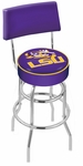 Louisiana State University 25'' Chrome Finish Swivel Counter Height Stool with Double Ring Base [L7C425LASTUN-FS-HOB]