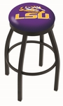 Louisiana State University 25'' Black Wrinkle Finish Swivel Backless Counter Height Stool with Accent Ring [L8B2B25LASTUN-FS-HOB]
