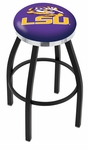 Louisiana State University 25'' Black Wrinkle Finish Swivel Backless Counter Height Stool with Chrome Accent Ring [L8B2C25LASTUN-FS-HOB]