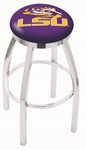 Louisiana State University 25'' Chrome Finish Swivel Backless Counter Height Stool with Accent Ring [L8C2C25LASTUN-FS-HOB]