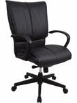 Louisville High Back 25.5'' W x 21.5'' D x 40.5'' H Adjustable Height Leather Executive Chair - Black [LE8505-FS-EURO]
