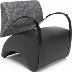 Recoil Lounge Chair - Nickle Back and Black Seat [841-NCKL-PU606-FS-MFO]