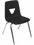 Quick Ship 2000 Series Stack Chair with 18''H Seat Height in Black and Chrome [2018-BLK01-CHRM-VCO]