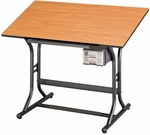 Height Adjustable Drafting Table with Black Base and Cherry Woodgrain Top 24''W x 40''D [CM30-3-WBR-FS-ALV]