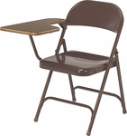 Multi-Purpose Folding Chair with Tablet Arm - Brown Finish Chair and Walnut Tablet [165-BRN16-WAL078-VCO]