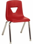2000 Series Stack Chair with 14''HH Seat in Red Plastic and Chrome Frame [2014-RED70-CHRM-VCO]