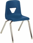 Quick Ship 2000 Series Stack Chair with 16''H Seat Height in Navy and Chrome [2016-BLU51-CHRM-VCO]