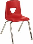 2000 Series Stack Chair with 16''H Seat Height in Red and Chrome [2016-RED70-CHRM-VCO]