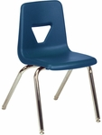 Quick Ship 2000 Series Stack Chair with 18''H Seat with Chrome Frame - Navy - 18.75''W x 20''D x 30''H [2018-BLU51-CHRM-VCO]