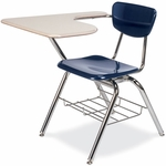 Quick Ship 3000 Series Combo Sandstone Hard Plastic Tablet Arm Desk with Navy Seat and Wire Bookrack [3700BRM-BLU51-BRN96-CHRM-VCO]