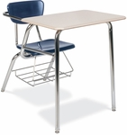 Quick Ship 3000 Series Combo Sandstone Hard Plastic Desk with Navy Seat and Wire Bookrack [3400BRM-BLU51-BRN96-CHRM-VCO]