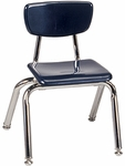 Quick Ship 3000 Series Hard Plastic Navy Stack Chair with 12''H Seat and Chrome Frame [3012-BLU51-CHRM-VCO]
