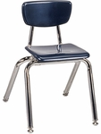 Quick Ship 3000 Series Hard Plastic Navy Stack Chair with 14''H Seat and Chrome Frame [3014-BLU51-CHRM-VCO]