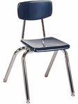 Quick Ship 3000 Series Hard Plastic Navy Stack Chair with 16.25''H Seat and Chrome Frame [3016-BLU51-CHRM-VCO]