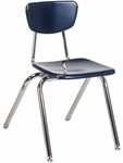 Quick Ship 3000 Series Hard Plastic Stack Chair with 18.25''H Seat - Navy Seat and Chrome Frame [3018-BLU51-CHRM-VCO]