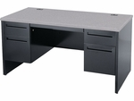 5300 Series Double Pedestal Teachers Desk with Grey Nebula Top - 60''W x 30''D x 29''H [533060-GRY091-BLK01-VCO]