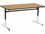 8700 Series 30''W x 60''L Computer Table with Medium Oak Top and Black-Chrome Frame [873060-OAK084-BLK01-VCO]