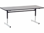 Quick Ship 8700 Series 30''W x 72''L Computer Table with Grey Nebula Top and Black-Chrome Frame [873072-GRY091-BLK01-VCO]