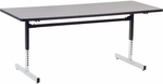 Quick Ship 8700 Series Computer Table with Grey Nebula Top and Black-Chrome Frame - 30''W x 72''D x 22''H - 30''H [873072-GRY091BLK01-BLK01-VCO]