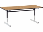 Quick Ship 8700 Series 30''W x 72''L Computer Table with Medium Oak Top and Black-Chrome Frame [873072-OAK084-BLK01-VCO]