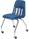 9000 Classic Series Sedona Sailor Fabric & Navy Polypropylene Mobile Chair with 18'' Seat Height and Chrome Frame [9050P-BLU51-BLU204-CHRM-VCO]