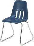 9000 Classic Series Sled Base Chair with 12'' Seat Height in Navy Polypropylene and Chrome Frame [9612-BLU51-CHRM-VCO]