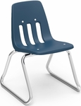 9000 Classic Series Sled Base Chair with 12''H Polypropylene Seat and Chrome Frame - Navy - 15''W x 14.75''D x 21''H [9612-BLU51-CHRM-VCO]