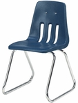 9000 Classic Series Sled Base Chair with 16'' Seat Height in Navy Polypropylene and Chrome Frame [9616-BLU51-CHRM-VCO]