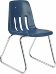 9000 Classic Series Sled Base Chair with 18'' Seat Height in Navy Polypropylene and Chrome Frame [9618-BLU51-CHRM-VCO]
