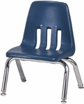 9000 Classic Series Navy Polypropylene Stack Chair with 10'' Seat Height and Chrome Frame [9010-BLU51-CHRM-VCO]