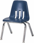 Quick Ship 9000 Classic Series Navy Polypropylene Stack Chair with 12'' Seat Height and Chrome Frame [9012QS-BLU51-CHRM-VCO]