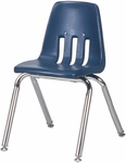 Quick Ship 9000 Classic Series Navy Polypropylene Stack Chair with 14'' Seat Height and Chrome Frame [9014QS-BLU51-CHRM-VCO]