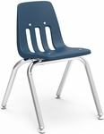 Quick Ship 9000 Classic Series Stack Chair with 14''H Polypropylene Seat and Chrome Frame - Navy - 14.88''W x 17.25''D x 22.38''H [9014-BLU51-CHRM-VCO]