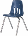 Quick Ship 9000 Classic Series Navy Polypropylene Stack Chair with 16'' Seat Height and Chrome Frame [9016QS-BLU51-CHRM-VCO]