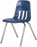 Quick Ship 9000 Classic Series Navy Polypropylene Stack Chair with 18'' Seat Height and Chrome Frame [9018QS-BLU51-CHRM-VCO]