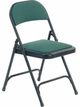 Folding Chair with Sedona Loden Fabric Pads and Char Black Frame [188-GRN203-BLK01-VCO]