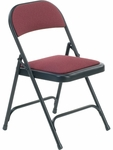 Multi-Purpose Steel Folding Chair with Sedona Ruby Fabric Pads and Char Black Frame - 17.75''W x 18.75''D x 29.5''H [188-RED201-BLK01-VCO]