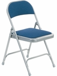 Quick Ship Multi-Purpose Steel Folding Chair with Sedona Sailor Fabric Pads and Silver Mist Frame - 17.75''W x 18.75''D x 29.5''H [188-BLU204-GRY02-VCO]
