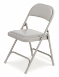 Quick Ship Multi-Purpose Steel Folding Chair with Silver Mist Vinyl Pads and Frame - 17.75''W x 18.75''D x 29.5''H [168-GRY132-GRY02-VCO]