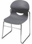 I.Q. Series Sled Base Stack Chair with 17.5''H Seat in Graphite and Chrome Frame [264617-GRY41-CHRM-VCO]