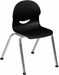 I.Q. Series Stack Chair with 13''H Plastic Seat and Chrome Frame - Black - 16''W x 17''D x 23.88''H [264513-BLK01-CHRM-VCO]