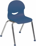 I.Q. Series Stack Chair with 13''H Plastic Seat and Chrome Frame - Navy - 16''W x 17''D x 23.88''H [264513-BLU51-CHRM-VCO]