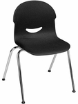 I.Q. Series Stack Chair with 17.5''H Seat in Black and Chrome Frame [264517-BLK01-CHRM-VCO]