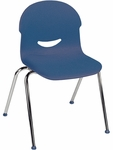 I.Q. Series Stack Chair with 17.5''H Plastic Seat and Chrome Frame - Navy - 21.25''W x 20.62''D x 32.25''H [264517-BLU51-CHRM-VCO]