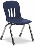 Metaphor Series Navy Polypropylene Stack Chair with 12'' Seat Height and Chrome Frame [N912-BLU51-CHRM-VCO]