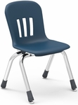 Metaphor Series Stack Chair with 12''H Polypropylene Seat and Chrome Frame - Navy - 13.38''W x 16.13''D x 22.88''H [N912-BLU51-CHRM-VCO]