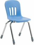 Metaphor Series Navy Polypropylene Stack Chair with 14'' Seat Height and Chrome Frame [N914-BLU51-CHRM-VCO]