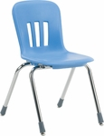 Quick Ship Metaphor Series Navy Polypropylene Stack Chair with 16'' Seat Height and Chrome Frame [N916-BLU51-CHRM-VCO]
