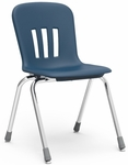 Quick Ship Metaphor Series Stack Chair with 18''H Polypropylene Seat and Chrome Frame - Navy - 19.63''W x 22.25''D x 31.13''H [N918-BLU51-CHRM-VCO]